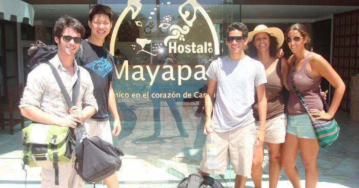 Make cheap reservations at a hotel like Hostal Mayapan